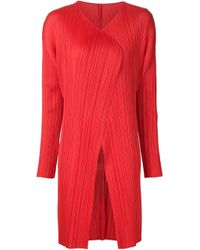 Pleats Please Issey Miyake | Red Pleated Open Front Coat | Lyst
