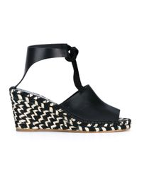 Proenza Schouler - Black Striped-wedge Leather Espadrilles - Lyst