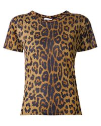 Saint Laurent | Brown Leopard Print T-shirt | Lyst