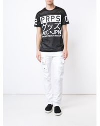 PRPS - Black Logo Print Mesh T-shirt for Men - Lyst