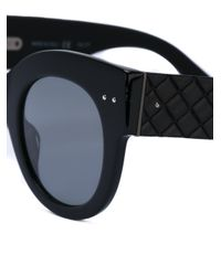 Bottega Veneta - Black Quilted Frame Sunglasses - Lyst
