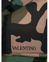Valentino - Brown Camouflage Scarf for Men - Lyst