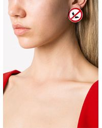 Moschino | Red 'clothed For Construction' Clip-on Earrings | Lyst
