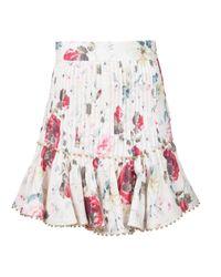 Zimmermann - White Floral Peplum Skirt - Lyst