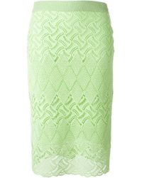Ermanno Scervino - Green Open Knit Skirt - Lyst