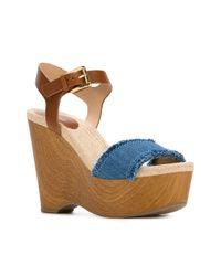 MICHAEL Michael Kors | Brown Platform Wedge Sandals | Lyst