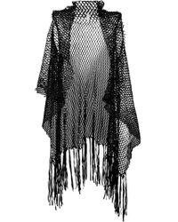 Cutuli Cult - Black Asymmetric Leather and Lace Waistcoat - Lyst