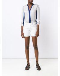 Elie Tahari - Gray Contrast Shirt - Lyst