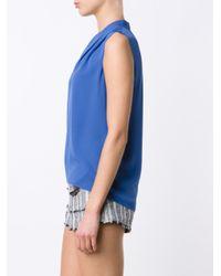 Elie Tahari - Blue V-neck Blouse - Lyst