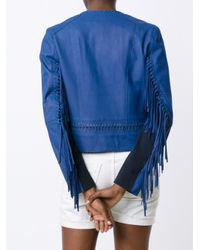 Elie Tahari - Blue Fringed Sleeves Jacket - Lyst