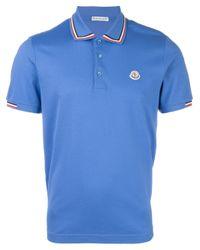 Moncler | Blue Logo Polo Shirt for Men | Lyst