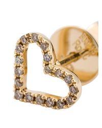 Rosa De La Cruz - Metallic Diamond Heart Stud Earrings - Lyst