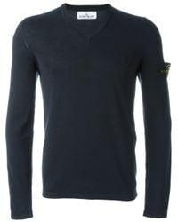 Stone Island | Blue V-neck Sweater for Men | Lyst