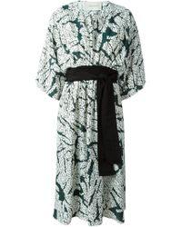 Cedric Charlier - Green Twill Printed Kimono Dress - Lyst