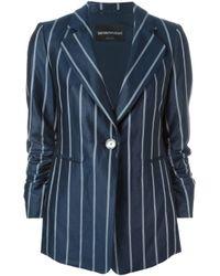 Emporio Armani | Blue Ramie Long Jacket for Men | Lyst