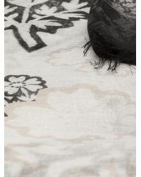 Alexander McQueen - Black Block Print Daisy Skull Scarf - Lyst