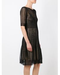Alberta Ferretti - Black Layered Dress - Lyst