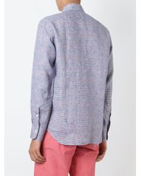 Canali - Blue Plaid Button Down Shirt for Men - Lyst