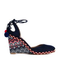Aquazzura - Black 'palm Beach' Embroidered Wedge Pumps - Lyst