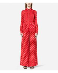 Christopher Kane - Red Love Heart Print Palazzo Pants - Lyst