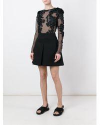 Amen | Black Flower Appliqué Bodysuit Blouse | Lyst