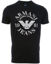 Armani Jeans | Black Logo Print T-shirt for Men | Lyst