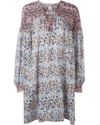 See By Chloé - Blue Cotton- Popeline Printed Dress - Lyst