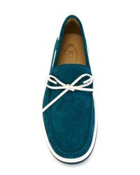 Tod's - Blue Laced Boat Shoes for Men - Lyst