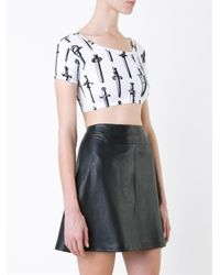KTZ - Black Sword Print Crop Top - Lyst