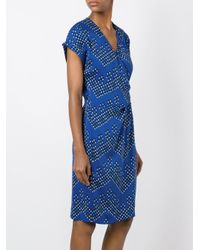 Diane von Furstenberg - Blue V-neck Wrap Dress - Lyst