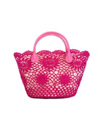 Twin Set - Pink Small Crochet Tote - Lyst