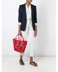 Twin Set - Red Crochet Detail Tote - Lyst