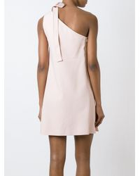 Chloé - Natural One Shoulder Bow Dress - Lyst
