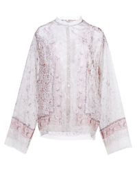 Etro | White Floral Print Sheer Shirt | Lyst