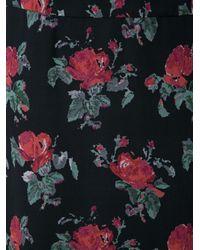 Saint Laurent - Black Floral Print Skirt - Lyst