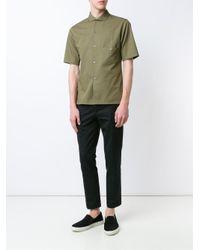 Lemaire - Blue Panelled Short Sleeve Shirt for Men - Lyst