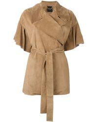 Agnona   Natural - Ruffle Sleeve Caban Jacket - Women - Calf Leather - 36   Lyst