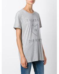 Zoe Karssen - Gray Heart Print T-shirt - Lyst