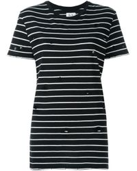 Zoe Karssen - Black Distressed Striped T-shirt - Lyst