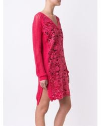 Marco De Vincenzo - Pink Lace V Neck Dress - Lyst