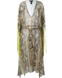 Roberto Cavalli | Natural Fringed Snakeskin Print Dress | Lyst