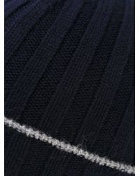 Brunello Cucinelli - Blue Cashmere Ribbed Beanie for Men - Lyst