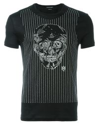Alexander McQueen | Black Embroidered Skull T-shirt for Men | Lyst