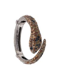 Roberto Cavalli | Brown Gold-Plated Swarovski Crystal Panther Bracelet | Lyst