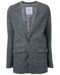 Fad Three | Gray Colarless Blazer Jacket | Lyst