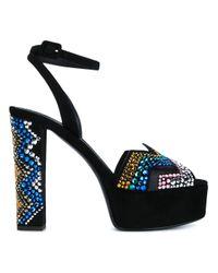 Giuseppe Zanotti | Black Suede Crystal Embellished Platform Sandals | Lyst