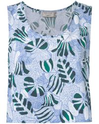 Maison Kitsuné | Blue 'ana' Hibiscus Wrap Around Top | Lyst