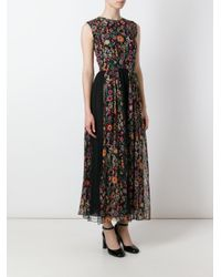 RED Valentino | Black Floral Print Pleated Dress | Lyst