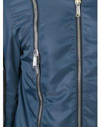 DSquared² - Blue - Zip Detail Bomber Jacket - Men - Cotton/leather/polyamide/pvc - 52 for Men - Lyst