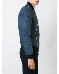 DSquared² - Blue - Zip Detail Bomber Jacket - Men - Cotton/leather/polyamide/pvc - 52 for Men - Lyst